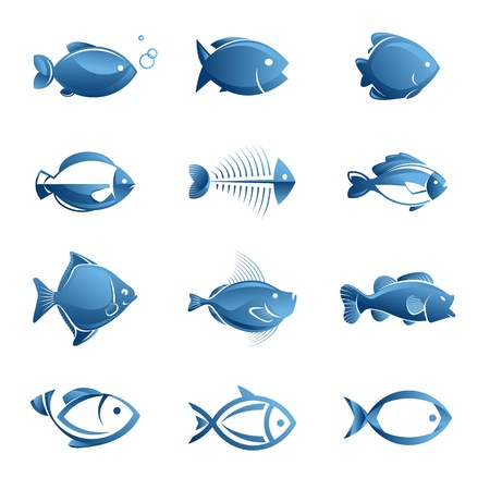 skeleton fish: Set of vector fish icons