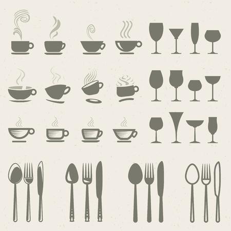 fork glasses: Set di icone per cibo e bevande