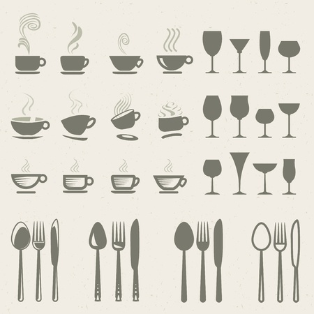kitchen ware: Set of icons for food and drink  Illustration