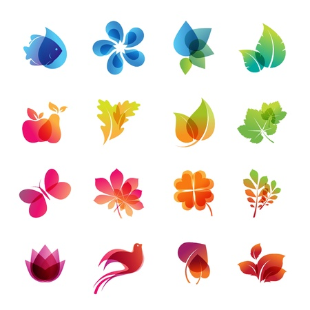 clovers: Colorful nature icon set  Illustration