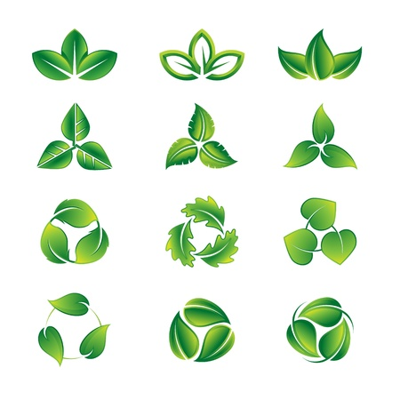natural health: Green leaves vector icon set