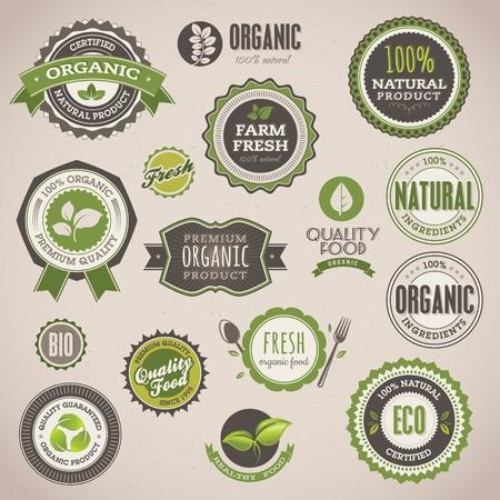 Juego de insignias y etiquetas orgánicas