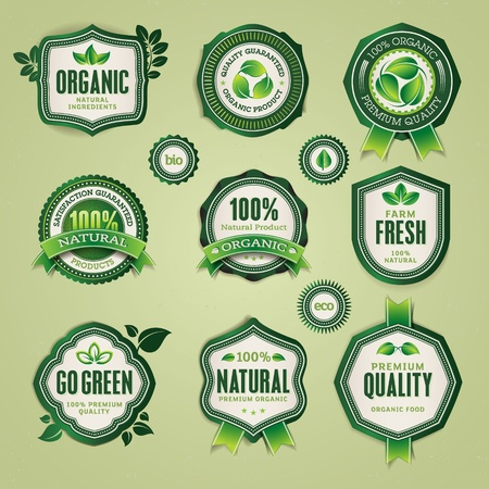 Set of organic and natural badges and labels  Stock Vector - 13483820