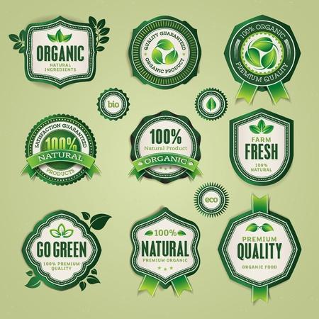 ecology emblem: Set of organic and natural badges and labels