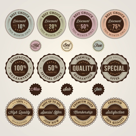 free vintage background: Set of sale and discount labels and stickers
