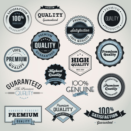 Collection of Premium Quality and Guarantee labels and badges  Vector