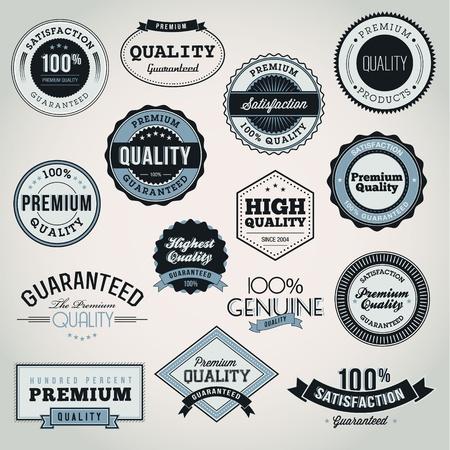 label: Het verzamelen van Premium kwaliteit en Garantiefonds voor de etiketten en insignes Stock Illustratie