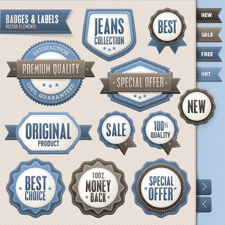 fashion label: Collection of badges and labels