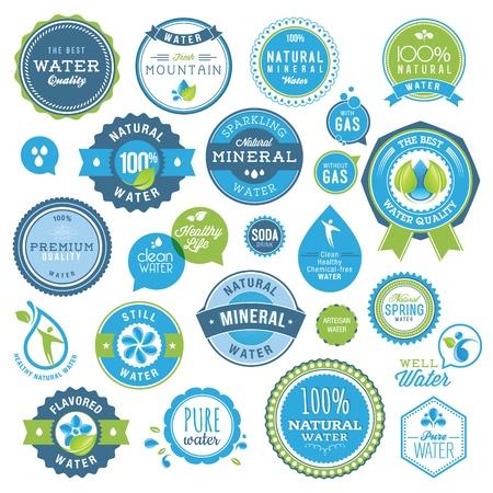 mineralien: Set von Wasser Abzeichen und Aufkleber