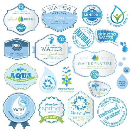 spring water: Set of water labels