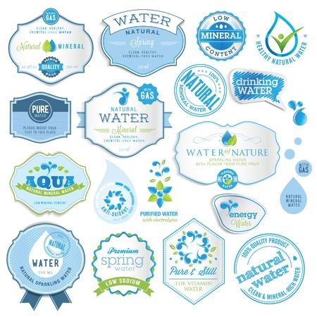 mineralien: Set von Wasser-Etiketten