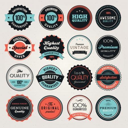 zufriedenheitsgarantie: Reihe von Business-Etiketten und und Abzeichen