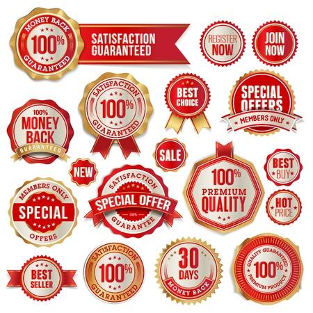 zufriedenheitsgarantie: Reihe von Business-Abzeichen und Aufkleber Illustration
