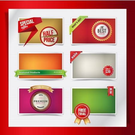 Set of web elements for products promotions  Vector