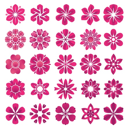 Set of vector flower icons and elements  Vector