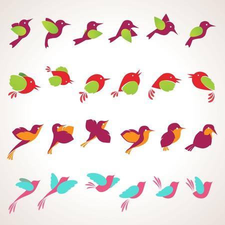 pajaros volando: Conjunto de iconos de diferentes aves Vectores