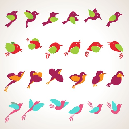 flying birds: Set of different birds icons
