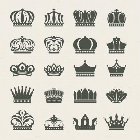 гребень: Набор значков корону Иллюстрация