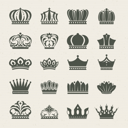 crests: Set of crown icons