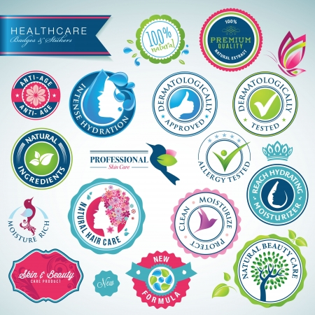 moisturizer: Set of health care badges and stickers  Illustration