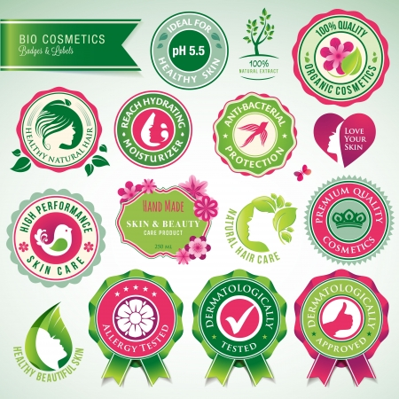 antibacterial: Set of cosmetics badges and labels