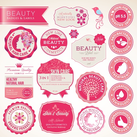 Collection of cosmetics labels and badges  Illustration
