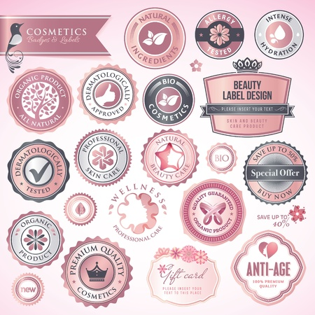 Cosmetics labels and badges Stock Vector - 14004239