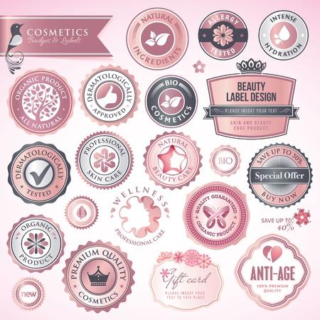 kosmetik: Kosmetik Etiketten und Abzeichen Illustration