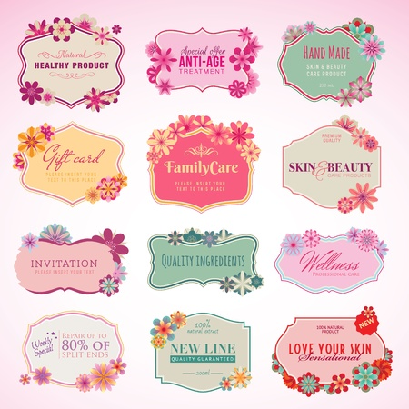 spa treatment: Set of cosmetics labels and stickers