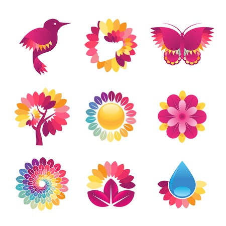 spa beauty: Set of colorful icons for cosmetics, spa, beauty
