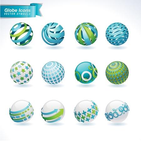 embarque: Conjunto de iconos de globo abstractos