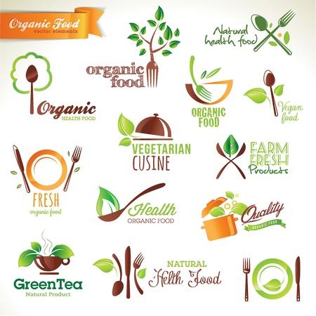 상징: 유기농 식품에 대한 아이콘 및 요소의 집합 일러스트