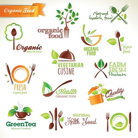 Set de iconos y elementos para los alimentos ecológicos