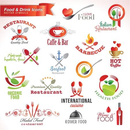 cuchara: Conjunto de iconos de alimentos y bebidas Vectores