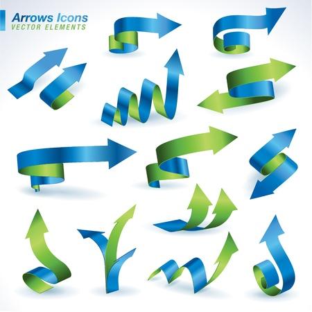 freccia giù: Set di icone di frecce Vettoriali