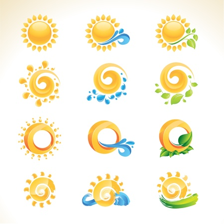 sun: Set of sun icons