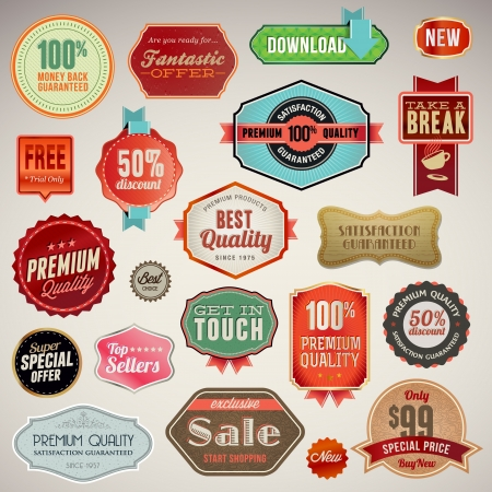best offer: Set of labels and stickers  Illustration