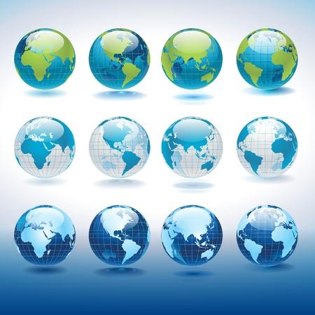 zeměkoule: Sada vektorové zeměkoule ikony ukazující zemi se všemi kontinenty Ilustrace