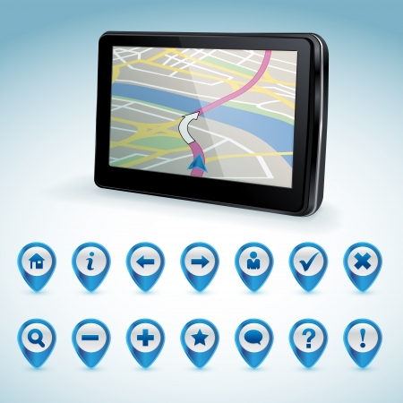 gps navigator: GPS navigator and set of GPS icons
