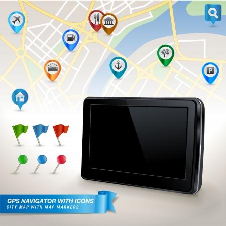 pin: Navegador GPS con mapa de la ciudad y un conjunto de iconos de GPS Vectores