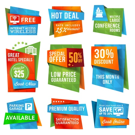 available: Set of special offer labels and banners