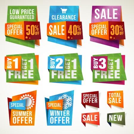 Set di etichette di vendita e banner Vettoriali