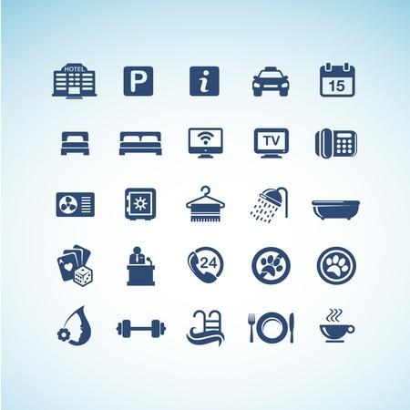 agencia de viajes: Conjunto de iconos de hoteles