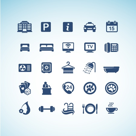 hotel rooms: Set of hotel icons
