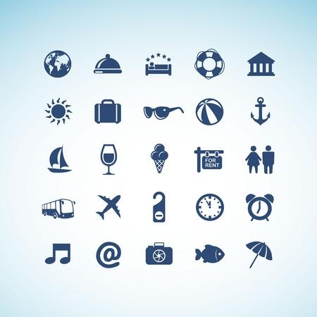 valigia: Set di icone di viaggio Vettoriali