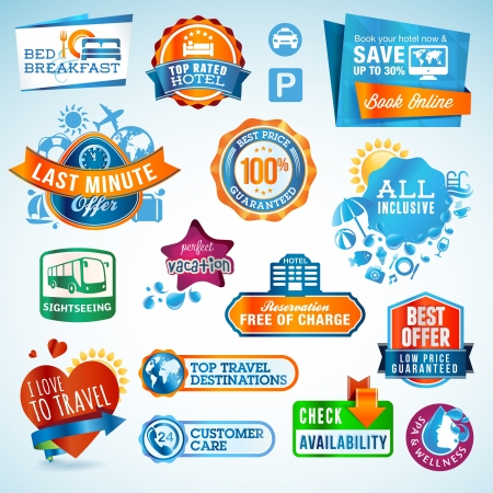 Set of travel labels and stickers  Stock Vector - 14491364