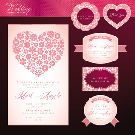 Wedding invitation card and elements  Vector