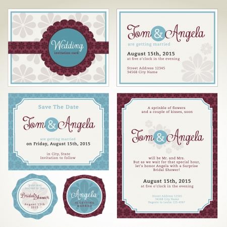 stationary: Wedding invitation card templates
