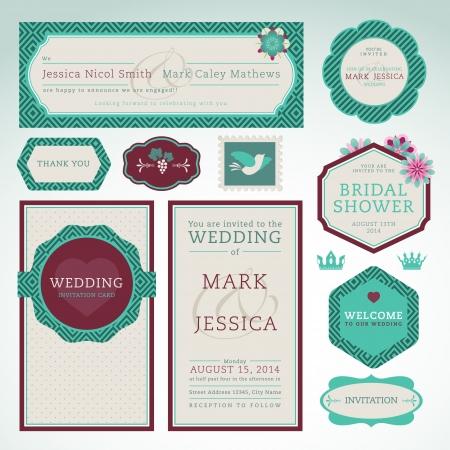 Set of wedding invitation cards  Illustration