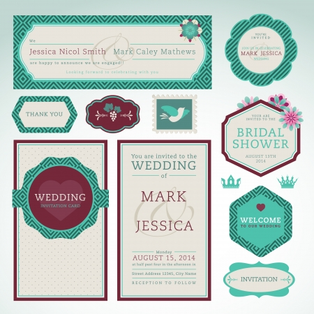 wedding reception decoration: Set of wedding invitation cards  Illustration